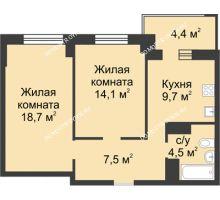 2 комнатная квартира 56,7 м² в ЖК Аквамарин, дом №2 - планировка