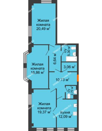 3 комнатная квартира 99,24 м² в ЖК Дом на Провиантской, дом № 12