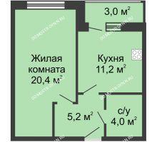 1 комнатная квартира 43,8 м² - Жилой дом: ул. Страж Революции