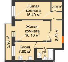 2 комнатная квартира 55 м² в ЖК Жюль Верн, дом № 1 корпус 1 - планировка