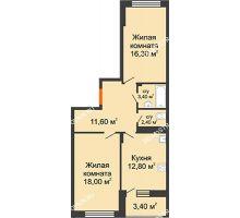 2 комнатная квартира 66,2 м² в ЖК Цветы 2, дом № 4 - планировка