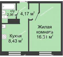 1 комнатная квартира 31,87 м² в ЖК Бурнаковский, дом № 38 - планировка
