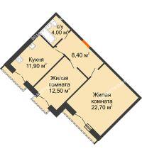 2 комнатная квартира 59,5 м², Жилой дом: г. Дзержинск, ул. Кирова, д.12 - планировка