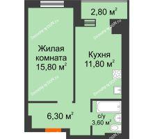 1 комнатная квартира 38,2 м² в Микрорайон Прибрежный, дом № 8 - планировка
