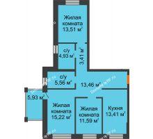 3 комнатная квартира 81,09 м² в ЖК Шоколад , дом ГП-1 - планировка