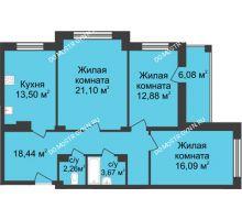 3 комнатная квартира 90,98 м² в ЖК Планетарий, дом № 6 - планировка