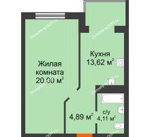 1 комнатная квартира 42,62 м², ЖК Зеленый квартал 2 - планировка