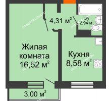 1 комнатная квартира 35,39 м² в ЖК Торпедо, дом № 18 - планировка
