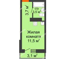 Студия 19,63 м² в ЖК Корабли, дом № 10 - планировка