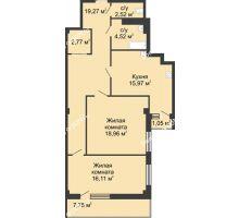 2 комнатная квартира 82,7 м² в  ЖК РИИЖТский Уют, дом Секция 1-2 - планировка