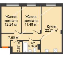 2 комнатная квартира 61,26 м² - ЖК Зеленый берег Life