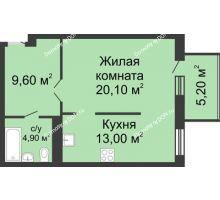 1 комнатная квартира 52,8 м², ЖК Нахичевань - планировка