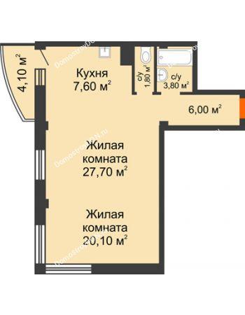 2 комнатная квартира 68,2 м² - ЖК Южная Башня