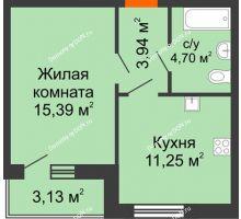 1 комнатная квартира 38,41 м² в ЖК Артемовский квартал, дом Секция 10 - планировка