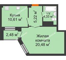 1 комнатная квартира 41,88 м² в ЖК Облака, дом № 2 - планировка