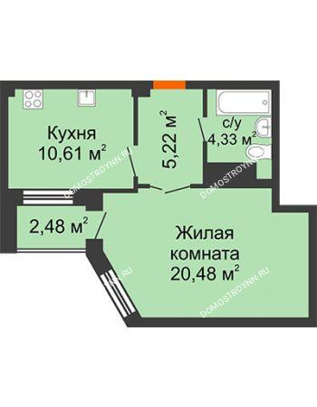 1 комнатная квартира 41,88 м² в ЖК Облака, дом № 2