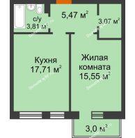 1 комнатная квартира 46,51 м² в ЖК Новоостровский, дом № 2 корпус 1 - планировка