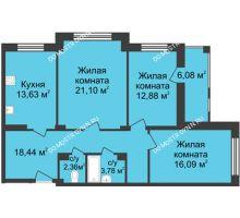 3 комнатная квартира 91,32 м² в ЖК Планетарий, дом № 6 - планировка