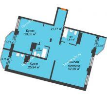 3 комнатная квартира 141,47 м², ЖК Столица - планировка
