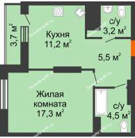 1 комнатная квартира 45,4 м², ЖК Космолет - планировка