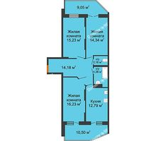 3 комнатная квартира 89,09 м² в ЖК Символ, дом Литер 1 - планировка