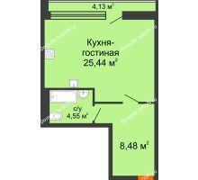 Студия 43,14 м², ЖК Царское село - планировка