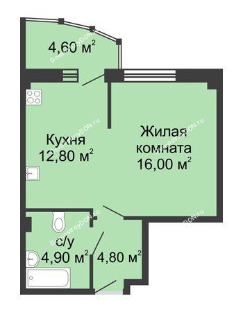 1 комнатная квартира 43,1 м² в ЖК Мега, дом № 2