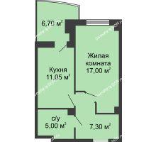 1 комнатная квартира 43,7 м² в ЖК Новый Город, дом № 3 - планировка