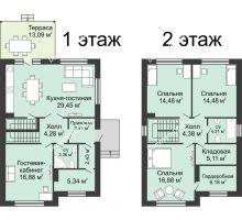 4 комнатная квартира 134 м² в КП Ольгинский, дом № 1, 134 м² - планировка