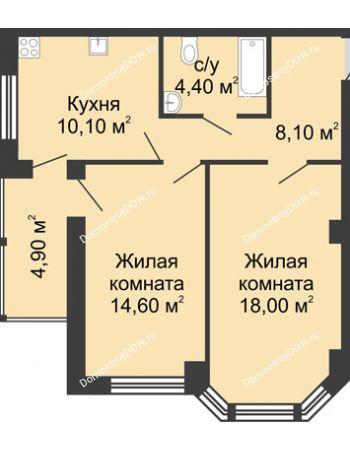 2 комнатная квартира 60,1 м² в ЖК Мега, дом № 2