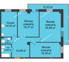3 комнатная квартира 107,98 м², ЖК 311 - планировка