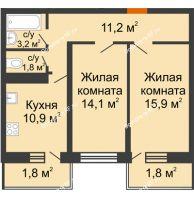 2 комнатная квартира 60,7 м² в Фруктовый квартал Абрикосово, дом Литер 3 - планировка