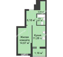 1 комнатная квартира 39,94 м² в ЖК Маленькая страна, дом № 3 - планировка