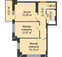 2 комнатная квартира 55,11 м² в ЖК Аврора, дом № 3 - планировка