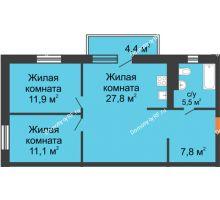 3 комнатная квартира 64 м² в ЖК Малоэтажный квартал, дом ГП-57 - планировка
