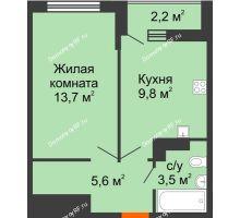 1 комнатная квартира 33,7 м², ЖК Акварели-3 - планировка