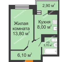1 комнатная квартира 33 м² в ЖК Вересаево, дом Литер 13/2 - планировка
