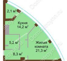 1 комнатная квартира 51,1 м² в ЖК Монолит, дом № 89, корп. 1, 2 - планировка