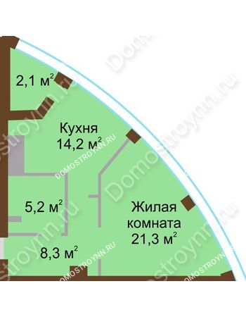 1 комнатная квартира 51,1 м² в ЖК Монолит, дом № 89, корп. 1, 2