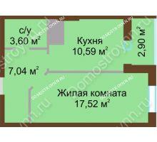 1 комнатная квартира 41,65 м² в ЖК Красная поляна, дом № 8