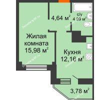 1 комнатная квартира 39,5 м², ЖК Столица - планировка