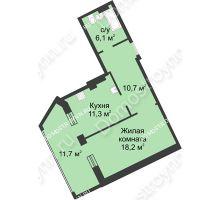 1 комнатная квартира 58 м² в ЖК Славянский квартал, дом № 188 - планировка