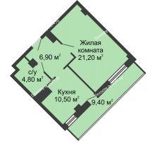 1 комнатная квартира 47,2 м², ЖК Крылья Ростова - планировка