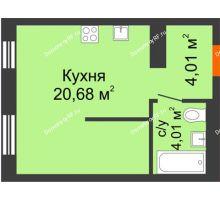 1 комнатная квартира 28,7 м² в ЖК Мозаика Парк, дом ГП-1 - планировка