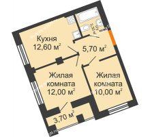 2 комнатная квартира 45,45 м² в ЖК Манхэттен О2, дом Дом 2 - планировка