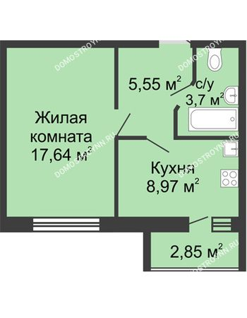 1 комнатная квартира 37,29 м² - ЖК Волжский-Берег