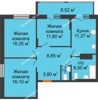 3 комнатная квартира 78 м² в Макрорайон Амград, дом № 1 - планировка