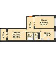 2 комнатная квартира 63,68 м² в ЖК Облака, дом № 2 - планировка