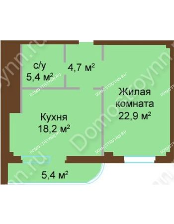 1 комнатная квартира 56,6 м² - ЖК Бояр Палас