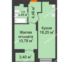 1 комнатная квартира 39,64 м² в ЖК КМ Анкудиновский парк, дом № 20 - планировка